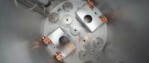 nanoPVD-T15A chamber interior with two TE1 sources for metals evaporation
