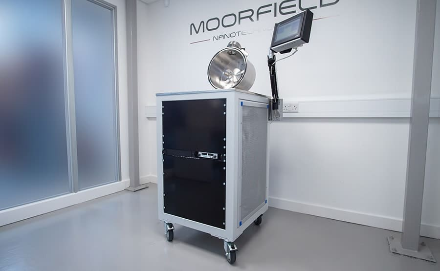 The system is a compact, floor-standing solution
