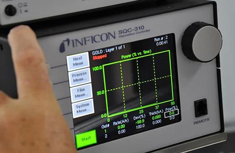 Inficon SQC-310 for automated control according to user-defined rates and thicknesses—as measured via quartz crystal sensor heads