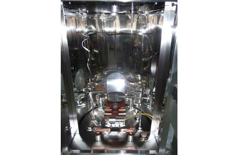 Interior of Minilab 080 process chamber with e-beam evaoration source with 6 × 7 cc pocket configuration