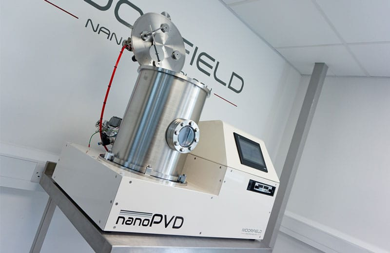 nanoPVD-T15A system with chamber lid opened for sample insertion/removal and source servicing